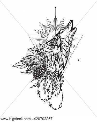 Vector Illustration Of Black And White Wolf, Feverweed Flower, Beads, Sacral Geometric Simbols Isola