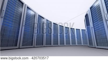 Composition of rows of blue lit computer servers. global data processing, technology and computing concept digitally generated image.