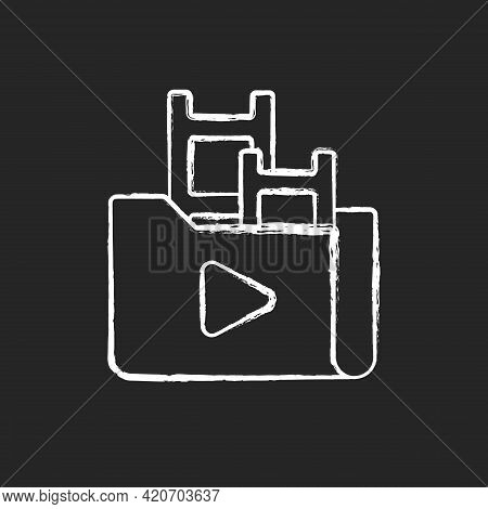 Streaming Service Library Chalk White Icon On Black Background. Films And Television Shows Collectio