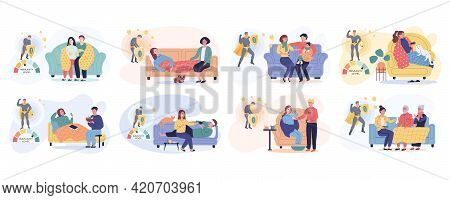 Set Of Illustrations About People On Self-isolation Treating At Home. Immunity Level Changes Due To