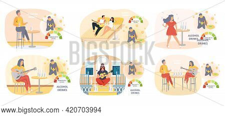 Set Of Illustrations About Alcoholism. Alcohol Dependence Concept. Unhealthy Lifestyle And Bad Habit