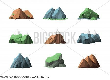 Mountain Elements. Snow Mountains, Outdoor Summer Landscape. Climbing Graphic, Rocky Hiking Map Icon