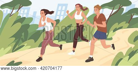 Young People Jogging In City Park In Summer. Group Of Runners Running Along Path, Training Outdoors.