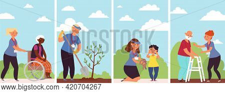 Social Workers Help. Female Carer, Old Person Care Nurse. Happy Child, Charity Support And Eco Volun