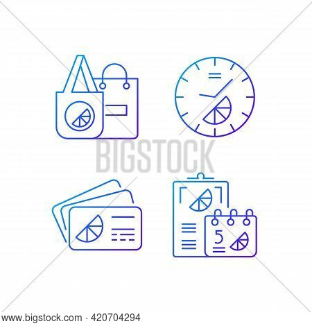 Company Branding Materials Gradient Linear Vector Icons Set. Advertising Company With Use Of Branded