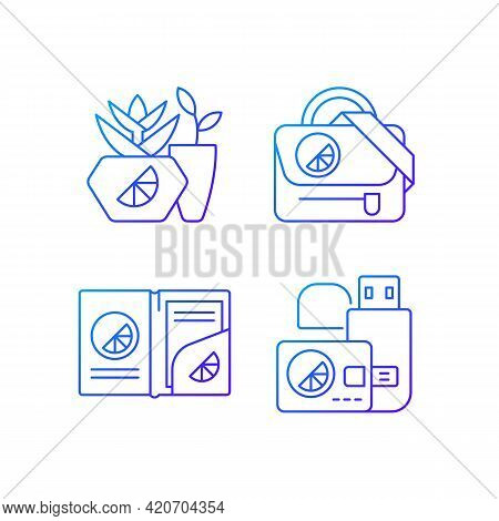 Company Branding Materials Gradient Linear Vector Icons Set. Branded Smart Devices For Storing Infor