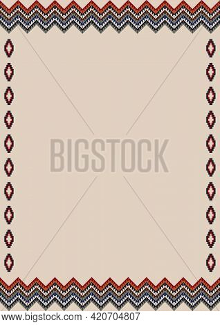 Ethnic Tribal Pattern Background With Copy Space For Text. Native Indian Border Ornament With Navajo
