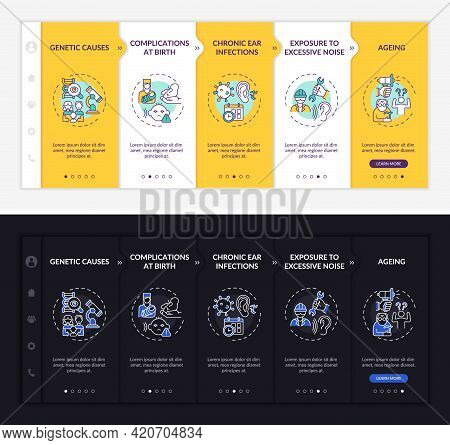 Hypoacusis Reasons Onboarding Vector Template. Responsive Mobile Website With Icons. Web Page Walkth