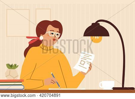 Girl Diary. Woman Write Journal, Journalist Or Teacher. Student Studying With Abstract Or Draws In C