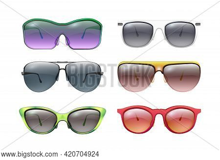Isolated Sunglasses. Colorful Sunglass, Realistic Bright Frames. Plastic Metal Rim, Summer Face Prot