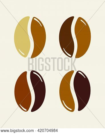 Group Of Roasted Brown Coffee Beans, Caffeine Symbol. Graphic Vector Illustration Isolated Over Beig