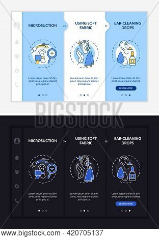 Ear Cleaning Methods Onboarding Vector Template. Responsive Mobile Website With Icons. Web Page Walk