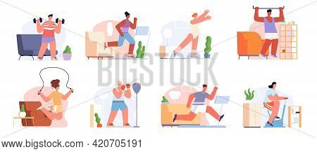 Home Sport Training. Fitness Practice, Exercise Workout Stretching. Male Sporting, Female Lifestyle