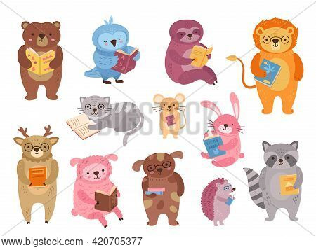 Animals Reading. Wild Animal Read Book, Funny School Study Characters. Childish Cartoon Literature,