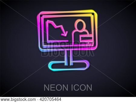 Glowing Neon Line Global Economic Crisis News Icon Isolated On Black Background. World Finance Crisi