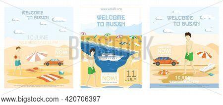 Exciting Vacation In Major Port City Busan Tourist Travel Posters Set With People Sunbathe On Beach.