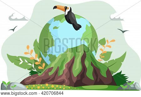 Ecology, Conservation Of Flora And Fauna, Environmental Protection. Toucan Sitting On Planet Surroun