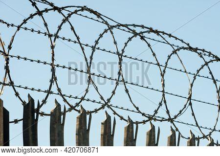 Razorwire Fencing Around A High Security Enclosure