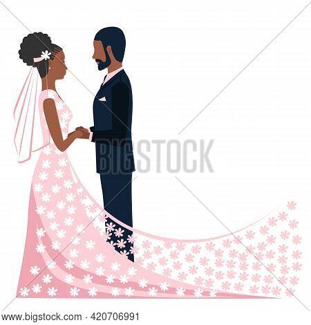 Happy Black Bride And Groom Get Married. Flat Vector Illustration Of Lovers Bride In Lace Flower Vei