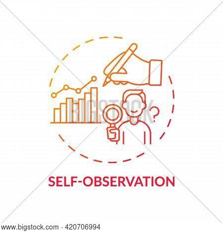 Self Observation Red Gradient Concept Icon. Goal Achievement. Project Management. Personal Motivatio