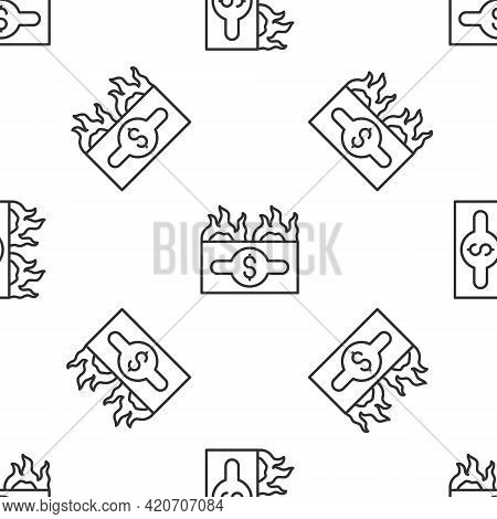 Grey Line Burning Dollar Bill Icon Isolated Seamless Pattern On White Background. Dollar Bill On Fir