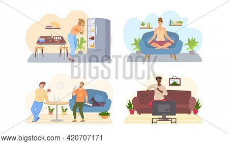 Set Of Illustrations About Lifestyle. Sport, Yoga, Exercises, Proper And Poor Nutrition, Bad Habits.