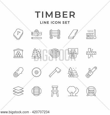 Set Line Icons Of Timber Industry Isolated On White