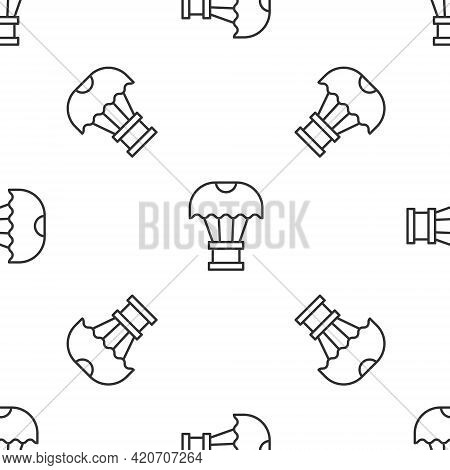 Grey Line Box Flying On Parachute Icon Isolated Seamless Pattern On White Background. Parcel With Pa