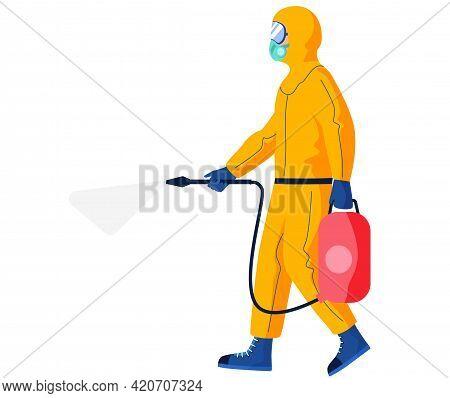 Disinfectant Worker Wearing Hazmat Suit Is Disinfecting. Preventive Measures Concept. Character In P