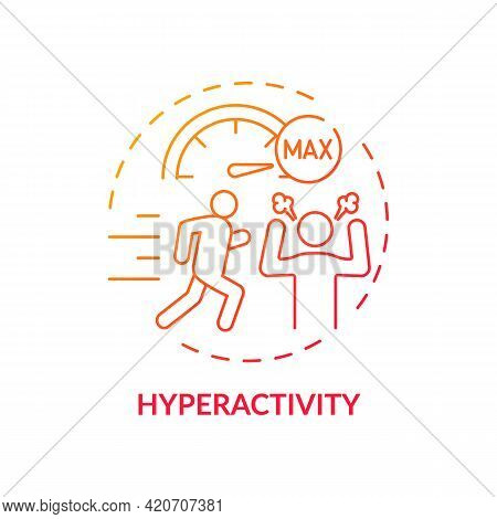 Hyperactivity Red Gradient Concept Icon. Attention Deficit Disorder. Problem With Focusing. Self Con