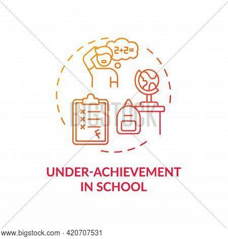 Under Achievement At School Red Gradient Concept Icon. Student Failing Class Grades. Self Control, R