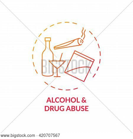 Alcohol And Drug Abuse Red Gradient Concept Icon. Unhealthy Substance Dependence. Smoking Habit. Sel