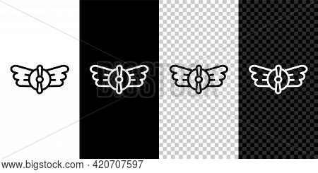 Set Line Aviation Emblem Icon Isolated On Black And White, Transparent Background. Military And Civi