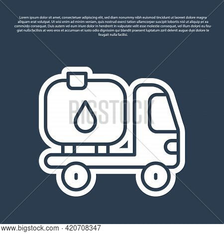 Blue Line Fuel Tanker Truck Icon Isolated On Blue Background. Gasoline Tanker. Vector