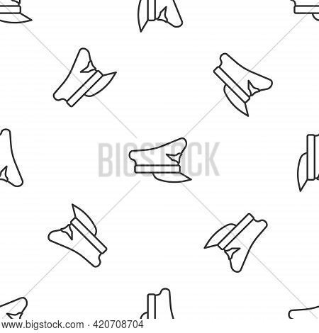 Grey Line Pilot Hat Icon Isolated Seamless Pattern On White Background. Vector