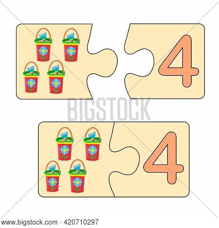 Educational Game For Kids. Find Right Picture For Number. Puzzle With Number Four And Baby Buckets.