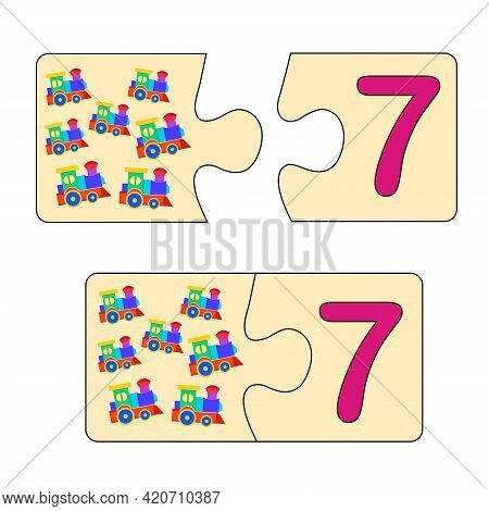 Educational Game For Kids. Find Right Picture For Number. Puzzle With Number Seven And Toys Trains.