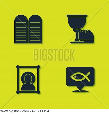 Set The Commandments, Christian Fish, Icon And Holy Grail Or Chalice Icon. Vector