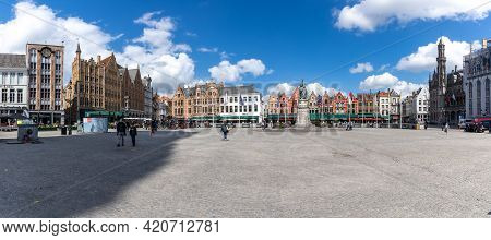 Panaroma View Of The Markt Square In The Historic City Center Uf Brugge