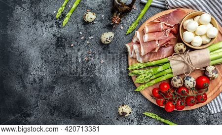 Italian Food. Antipasto Prosciutto, Jamon, Mozzarella And Fresh Arugula Antipasto Salad. Long Banner