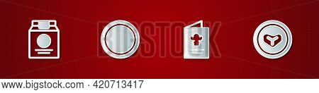 Set Online Ordering And Delivery, Plate, Cookbook And Steak Meat On Plate Icon. Vector