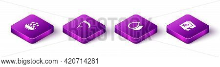 Set Isometric Seeds In Bowl, Scythe, Pumpkin Seeds And Flour Pack Icon. Vector