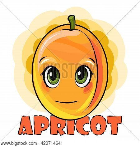 Apricot Fruits On An Abstract Background. Face. Inscription. Isolated Object On White. Ripe. Cartoon
