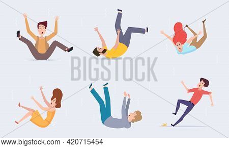 Falling People. Healthcare Problems Persons Falling From Stairs Wet Floor Injured Persons Bad Trip E