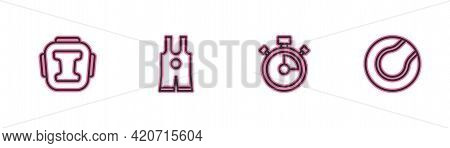 Set Line Boxing Helmet, Stopwatch, Wrestling Singlet And Tennis Ball Icon. Vector