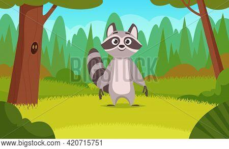 Raccoon In Forest. Cartoon Animals Walking In Wood Happy Cute Wild Raccoon Mammals Exact Vector Back
