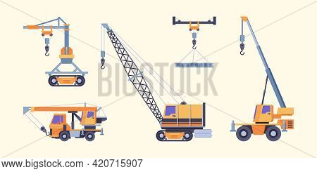 Cranes Collection. Industrial Loading Machines For Builders Crane Ropes With Hook Hoist Vehicles Gar