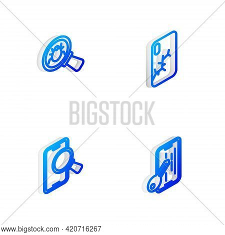 Set Isometric Line Mobile With Broken Screen, System Bug, Phone Repair Service And Glass Protector I