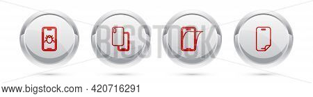 Set Line System Bug On Mobile, Smartphone, Glass Screen Protector And . Silver Circle Button. Vector