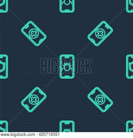 Set Line System Bug On Mobile, Phone Repair Service And Mobile With Shield On Seamless Pattern. Vect